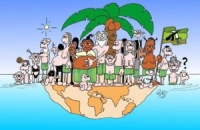 Cartoon\OverPopulation: cartoon-Overpopulated-island-overpopulation